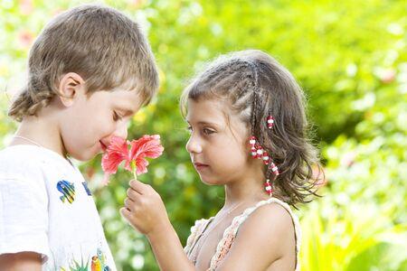 Portrait of little kids having good time in summer environment Stock Photo - 4097605