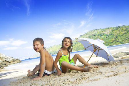 Portrait of little kids having good time in summer environment Stock Photo - 4097654
