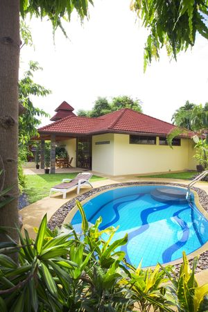 View of nice summer house  in  tropic environment