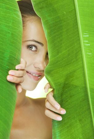 wellness environment: Portrait of young beautiful woman getting through the jungle