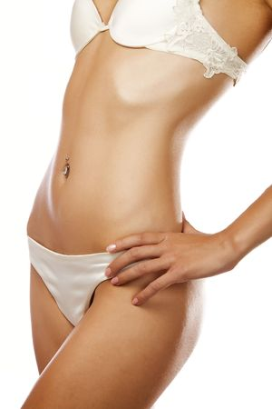 nice body: View of nice woman�s  body on white background