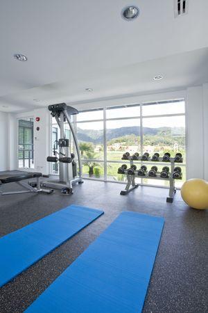 Panoramic view of modern style gym interior Stock Photo - 5294267