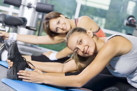 Portrait of young nice women getting busy in gym Stock Photo - 5486005