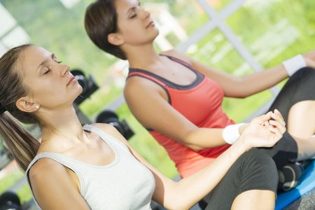 Portrait of  two young nice women getting busy in gym     photo
