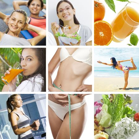 health collage: beautiful healthy lifestyle theme collage made from few photographs