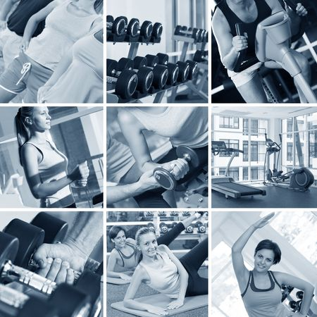 fitness club: fitness theme black and white  photo collage composed of few images