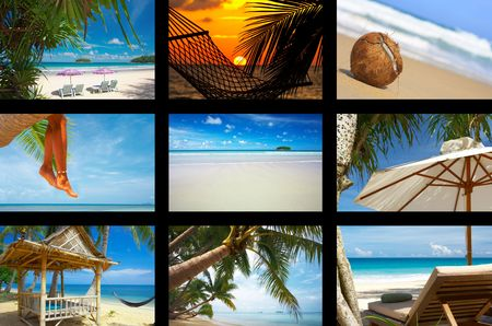 summertime theme photo collage composed of few images photo