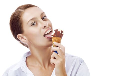 Portrait of young nice woman with ice cream on white  back photo