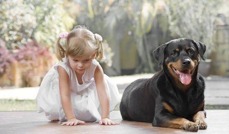 nursling: Portrait of little girl having good time  with her dog