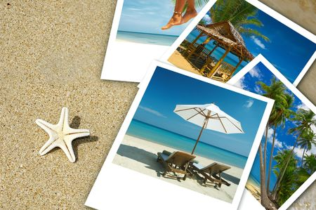 Tropic beach theme collage composed of few photos photo