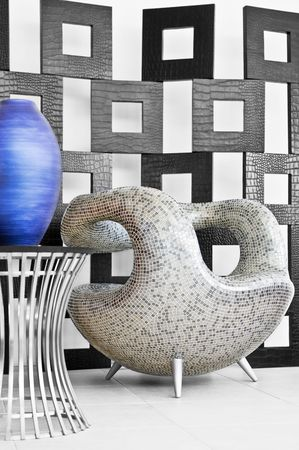 View of nice modern ceramic chair on specified back
