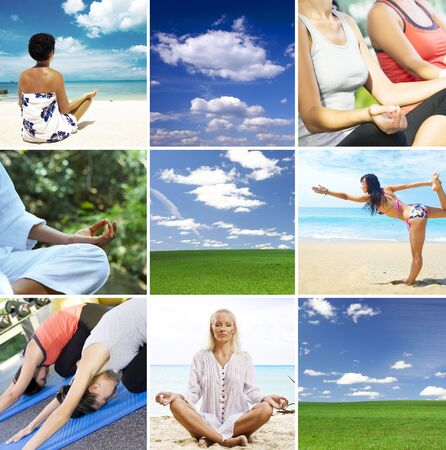 Yoga theme collage composed of different images photo