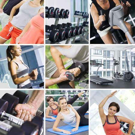 collage caras: collage de fotos de aptitud tema compuesto por pocas im�genes
