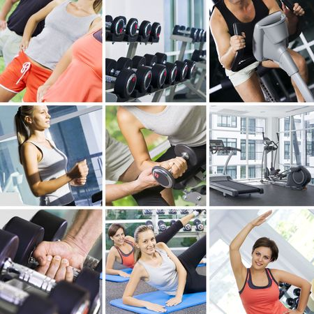 collages: fitness theme photo collage composed of few images Stock Photo