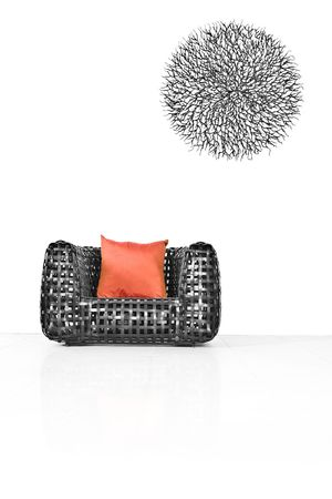 View of nice modern twiggen chair on white back