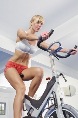Portrait of young beautiful woman  getting busy in gym     photo