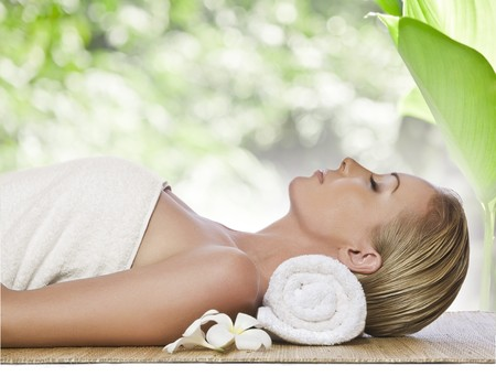portrait of young beautiful woman in spa environment Stock Photo - 6868350