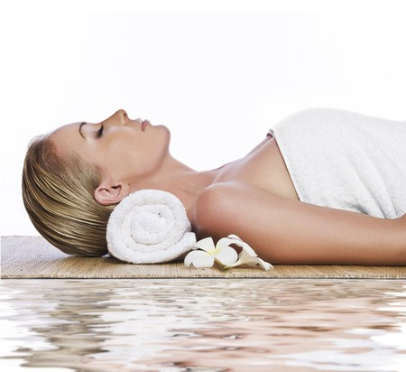 spa: portrait of young beautiful woman in spa environment