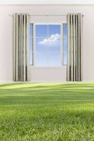 view of nice big window with piece of sky seen through photo