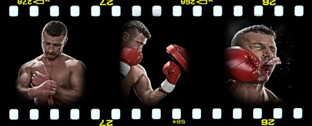 knockdown: boxing theme triptych composed of a few images