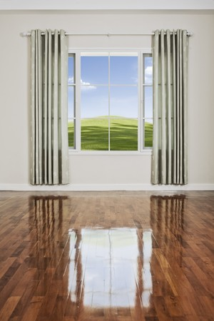 view of nice big window with piece of sky seen through Stock Photo - 7144677