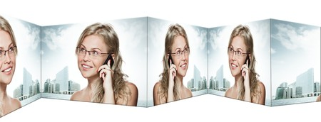 collage composed of  portrait of young woman with mobile phone photo