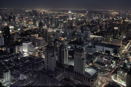 the night city: panoramic view on nice big city at night Stock Photo