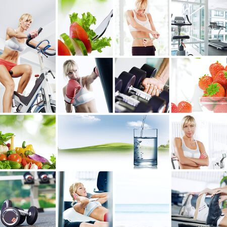 Healthy lifestyle  theme collage composed of different images photo