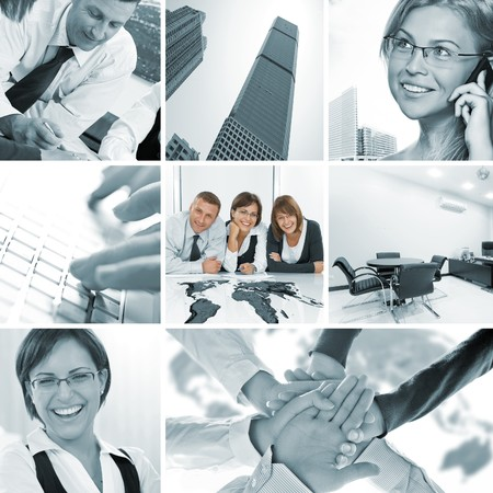 few: business theme photo collage composed of few images