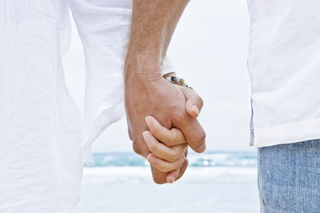 Close up view of two hands holding each other