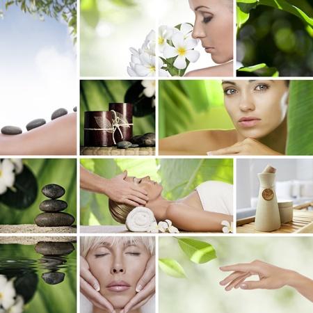 gezichtsbehandeling: Spa thema collage samengesteld uit verschillende afbeeldingen