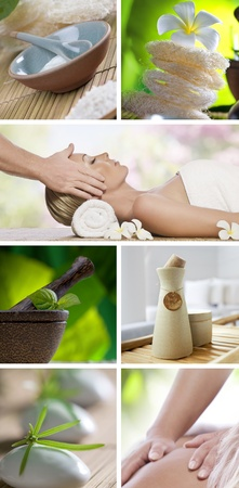 Spa theme collage composed of different images