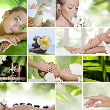 zen spa: Spa theme collage composed of different images