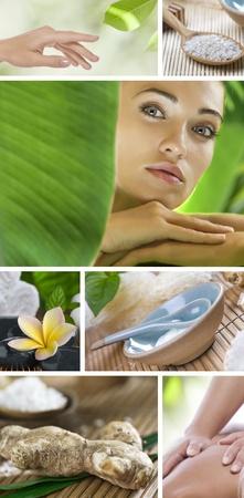 spa stone: Spa Thema Collage bestehend aus verschiedenen Bildern