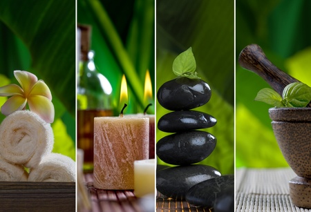 Close up view of spa theme objects on natural background photo