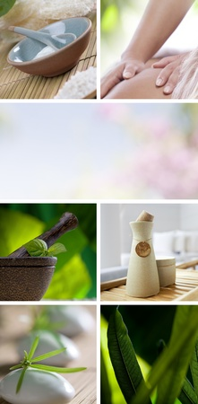 composed: Spa theme collage composed of different images