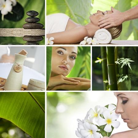 masajes faciales: Collage de tema de Spa se compone de diferentes im�genes