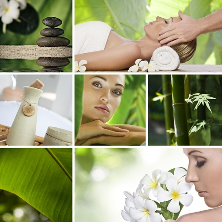 facial massage: Spa theme collage composed of different images