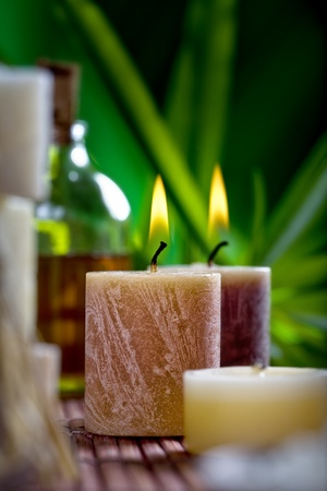 spa candles: Close up view of spa theme objects on natural background