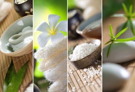 collage spa: Cerrar la vista de los objetos de tema de spa en fondo natural