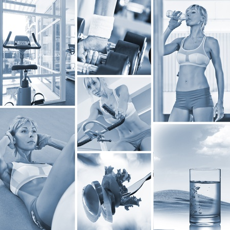 physical fitness: Healthy lifestyle  theme collage composed of different images Stock Photo