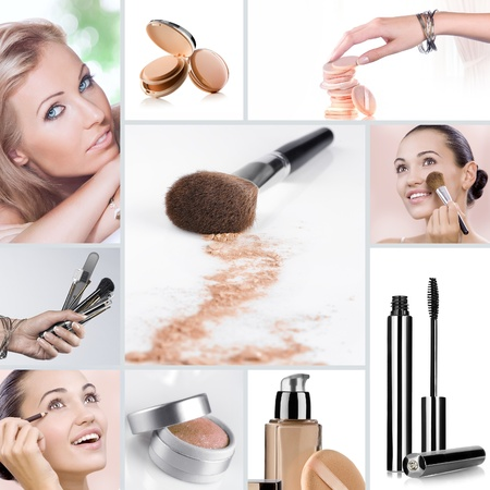Cosmetic theme collage composed of different images photo