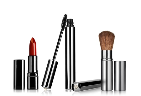 lipsticks: Close up view of cosmetic theme objects on white back