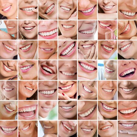 teeth smile: Smile theme collage composed of different images