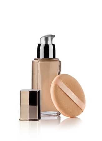 Close up view of Cosmetic liquid foundation on white back Stock Photo - 8562529