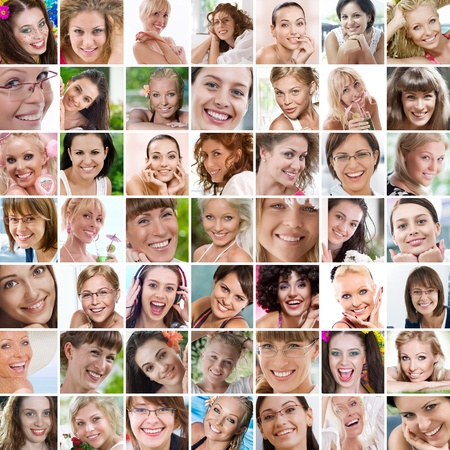 denture: Smile theme collage composed of different images