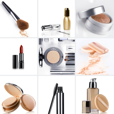 cosmetics collection: Cosmetic theme collage composed of different image