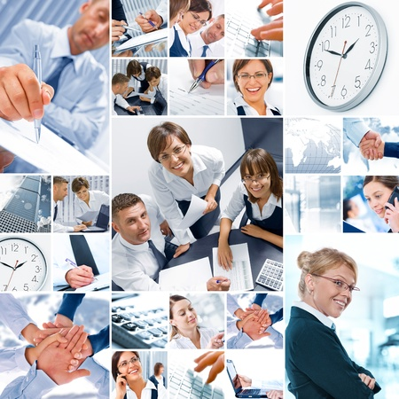 composed: Business  theme  photo collage composed of different images Stock Photo