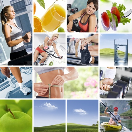 collage people: Healthy lifestyle  theme collage composed of different images Stock Photo
