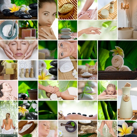 beauty salon face: Spa theme  photo collage composed of different images